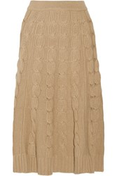 Michael Kors Collection Cable Knit Merino Wool And Cashmere Blend Midi Skirt Sand