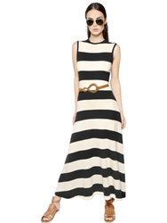 Polo Ralph Lauren Striped Viscose Cotton Knit Dress Black White