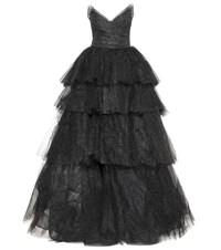 Monique Lhuillier Glittered Tulle Gown Black