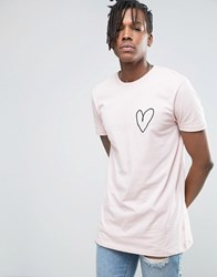 Asos Valentine's Longline T Shirt With Embroidered Heart Whip Peach Pink