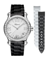 Chopard Happy Sport Medium 36Mm Stainless Steel Watch With Diamonds