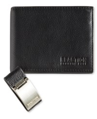 Kenneth Cole Reaction Men's Leather Passcase Wallet And Money Clip Black