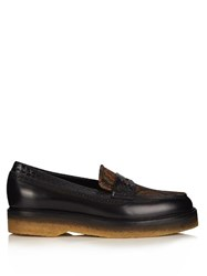 Etro Snakeskin Trimmed Jacquard Loafers Black Multi