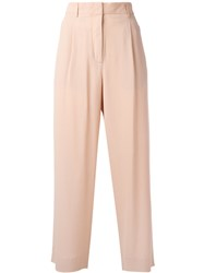 Incotex Cropped Flared Trousers Pink Purple