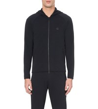 Armani Collezioni Branded Stretch Jersey Hoody Navy