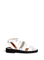 Givenchy Curb Chain Leather Flatform Sandals White