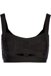 Herve Leger Cutout Bandage Cropped Top Black