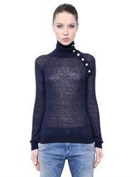 Balmain Mohair Wool Blend Turtleneck Sweater