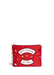 Venessa Arizaga 'You're My Drug Of Choice' Ceramic Charm Silk Clutch Red Multi Colour