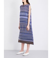 Issey Miyake Tribal Pattern Pleated Dress Brown X Blue
