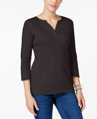 Karen Scott Petite Henley Top Only At Macy's Chocolate