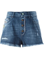 Diesel Embroidered Skull Jeans Shorts Blue