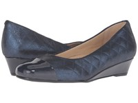 Trotters Langley Navy Quilted Pearlized Patent Women's Wedge Shoes
