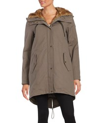 Vince Camuto Faux Fur Lined Parka Dark Taupe