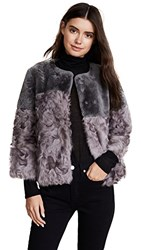 Jocelyn Shearling Patchwork Jacket Grey Tie Dye
