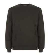 Sandro Cotton Destroy Sweatshirt Male Green