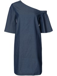 Tibi One Shoulder Dress Women Cotton 2 Blue