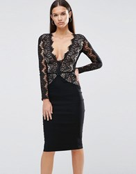 Rare London Pencil Dress With Scallop Lace Bodice And Sleeve Black