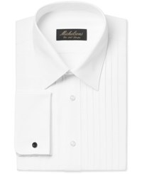 Michelsons Of London Classic Fit Pleated Wing French Cuff Tuxedo Shirt White