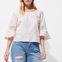 River Island Womens Petite Pink Crochet Bell Sleeve Top
