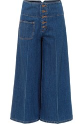 Marc Jacobs Cropped High Rise Wide Leg Jeans Blue