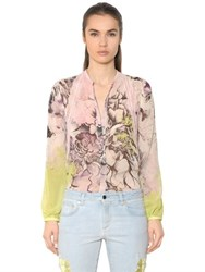 Roberto Cavalli Floral Print Silk Georgette And Lace Shirt