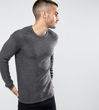 Only And Sons Knitted Jumper With Split Hem Detail Dark Grey Black