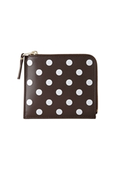 Comme Des Garcons Square Side Zip Wallet Brown Polka Dots