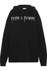 Balenciaga Femme Fatale Oversized Embroidered Stretch Jersey Hooded Top Black