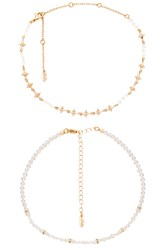 Ettika Beaded Choker Set Metallic Gold