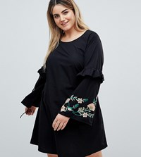 Junarose Embroidered Dress With Frill Detail Black