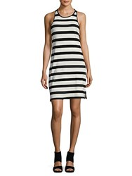 Ella Moss Striped Racerback Tank Dress Black Cream
