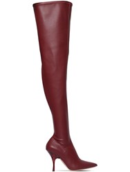 Rochas 100Mm Faux Leather Over The Knee Boots Bordeaux