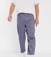 Noak Wide Leg Smart Trousers In Denim Navy