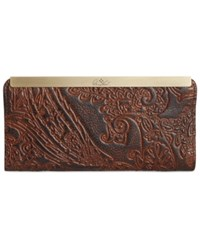 Patricia Nash Burnished Tooled Lace Tulli Wallet Dark Brown