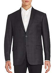 Michael Kors Two Button Plaid Wool Blazer Grey