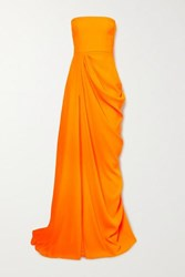 Alex Perry Reed Draped Crepe Strapless Gown Orange