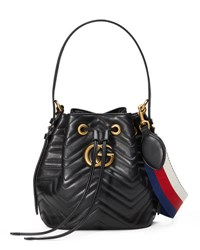 Gucci Gg Marmont Quilted Leather Bucket Bag Black