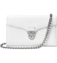 Aspinal Of London Manhattan Lizard Embossed Leather Clutch Cream