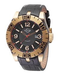 Gv2 48Mm La Luna Men's Automatic Watch W Leather Strap Black