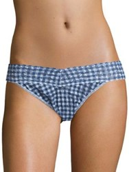 Hanky Panky Check Please Original Rise Thong Navy Blue