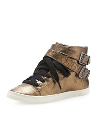 Schutz Aila Double Buckle Leather Sneaker Gold