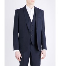 The Kooples Shawl Lapel Slim Fit Pinstriped Wool Jacket Nav01