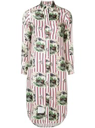 Thom Browne Tricolor Long Sleeve Shirtdress White