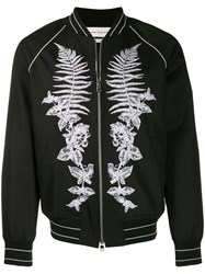 Alexander Mcqueen Frosted Fern Embroidered Bomber Jacket Black