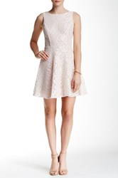 Speechless Glitter Lace Overlay Fit And Flare Dress Juniors Pink