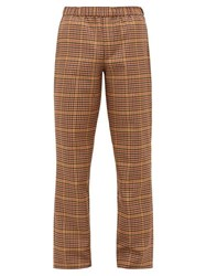 Schnayderman's Houndstooth Checked Twill Trousers Brown Multi