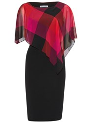 Gina Bacconi Bright Check Chiffon Cape Dress Multi