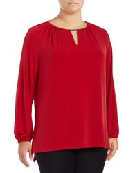 Jones New York Plus Knit Keyhole Blouse Garnet