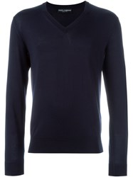 Dolce And Gabbana V Neck Sweater Blue